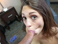 Asian gets her holes filled with a horny big cock !