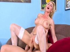 Blond bitch's wet, tight pussy gets a big shot of cum inside