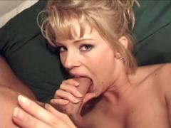 Blonde girl with a perfect body sucks and fucks two dicks !