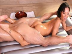 Asa gives him a sensual blowjob and the Nuru body massage
