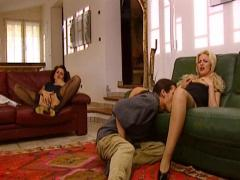 Dirty girls in a threesome with a dude in a big house