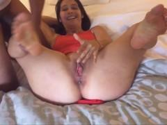 Wife gets cream pie by BBC, hubby eats it