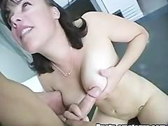 Busty Chole gives blowjob and getting banged