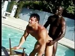 White & Black Muscle Fuck Poolside