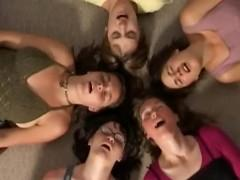 Group Friends Orgasm Together